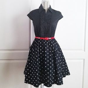 NWOT Black & White Polka Dot 50's Inspired Dress
